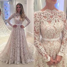 Vestidos De Novia 2017 Boat Neck Lace Vestido de Noiva Mangas Compridas A linha Tribunal Trem Vestidos de Casamento Da Praia em Vestidos de casamento de Casamentos & Eventos no AliExpress.com   Alibaba Group