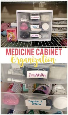Medicine Cabinet Organization - Sunshine and Munchkins Use drawers, containers and labels to organize your medicine cabinet. Home Organization Hacks, Storage Hacks, Diy Storage, Storage Solutions, Organising Tips, Organizing Life, Bathroom Organization, Organizing Ideas, Bathroom Ideas