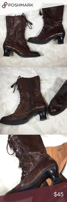 Born lace up Victorian leather steampunk boots 7.5 Born laceup brown leather granny Victorian style boots.  Marked size 7.5 and 38.5 euro. Light signs of use, see pics please. Born Shoes Lace Up Boots