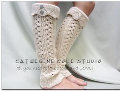 Hand knit look knit leg warmers in CAMEL  by CatherineColeStudio, $32.00