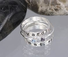 Items similar to Stacking Sterling Silver Rings, SET OF FOUR, 2 Personalized Hand Stamped Bands, 2 Birthstone Rings, Unique personalized handmade jewelry on Etsy Birthstone Stacking Rings, Mother Jewelry, Handmade Jewelry, Unique Jewelry, Jewelry Box, Natural Gemstones, Sterling Silver Rings, Rings For Men, Jewelry Design