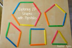 15 fun and hands-on learning activities for teaching children about and shapes and their properties. Great for preschool, kindergarten and first grade. 3d Shapes Activities, Geometry Activities, Teaching Shapes, Eyfs Activities, Preschool Learning Activities, Hands On Activities, Kindergarten Math, Preschool Shapes, Nursery Activities