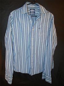 Mens Hollister M Medium Button Down Up Dress Shirt Blue Long Sleeve Cotton