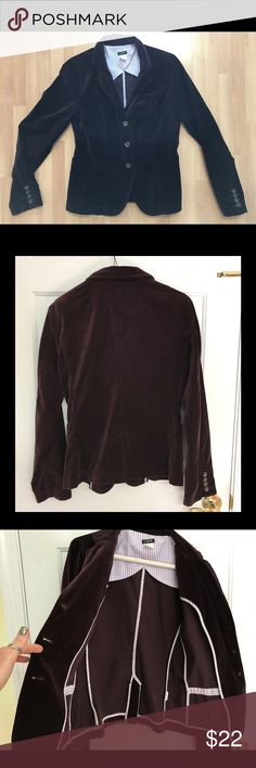"J Crew Brown Velvet Blazer Beautiful brown velvet J Crew blazer.  Like new.  Beautiful detailing - two front pockets, three front closure buttons, four buttons on each sleeve.  Unlined.  Measurements: Length - 24""; Bust: 17"" (from armpit to armpit); Sleeve length: 25"". J Crew Jackets & Coats Blazers"