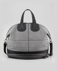 Givenchy Nightingale Men's Flannel Satchel Bag in Gray.