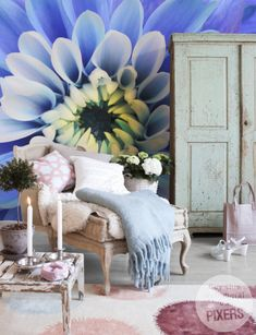 Blue Aster Wall mural from PIXERSIZE.COM
