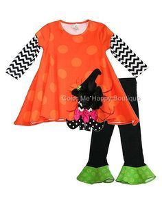 Peaches n Cream Chevron WITCH HAT Halloween Leggings set TODDLER Girls 2T-4T - Color Me Happy Boutique