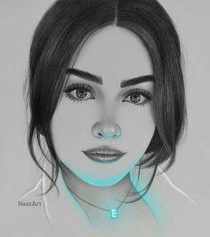 Pencil Art Drawings, Realistic Drawings, Art Drawings Sketches, Easy Drawings, Drawing Drawing, Face Sketch, Girl Sketch, Colour Pencil Shading, Stress Coloring Book