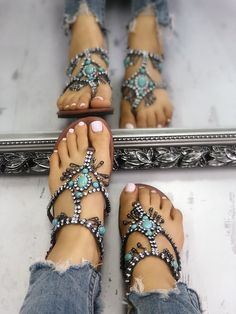 1e3945179459e boutiquefeel   Boho Style Shiny Embellished Toe Post Flat Sandals