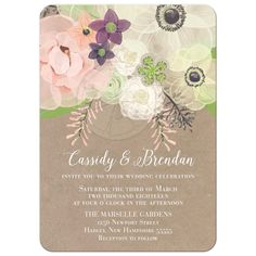 Floral watercolor wedding invitation with blush pink, cream and lavender roses and anemones. Hand painted invite for your classic yet vintage wedding with blush pink colors scheme and contemporary calligraphy completes the design on Kraft paper.
