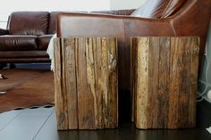 side tables - like the outside of these. Cutting up a few pieces of barn board and securing to a 'box' could replicate this look.