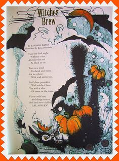 "Halloween Quotes : ""Witches' Brew"" poem from vintage Golden Magazine, October Retro Halloween, Halloween Poems, Vintage Halloween Cards, Halloween Pictures, Vintage Holiday, Holidays Halloween, Halloween Crafts, Happy Halloween, Halloween Decorations"