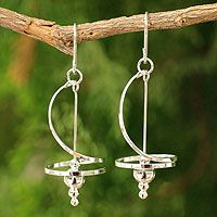 Sterling silver dangle earrings, 'Pirouette' from @NOVICA, They help #artisans succeed worldwide.