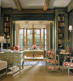 Country French antiques ~ books are right at home, here. French Country Cottage, French Country Style, English Style, French Decor, French Country Decorating, Country Interior Design, French Bistro, Home Libraries, My Dream Home