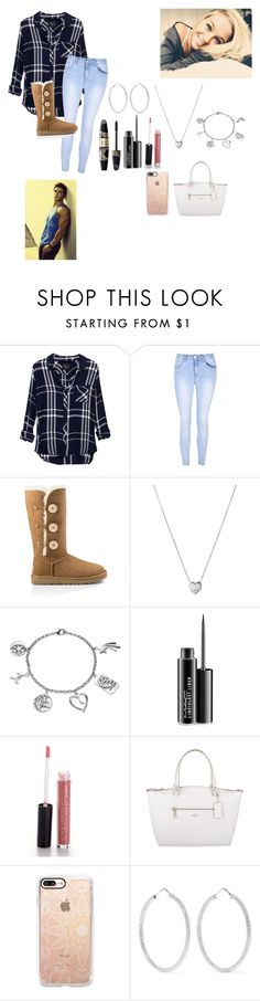 """""""Dinner with my boy -Lacey"""" by itsyagurl-anxns ❤ liked on Polyvore featuring Rails, Glamorous, UGG Australia, Links of London, Love This Life, Max Factor, MAC Cosmetics, Coach, Casetify and Carolina Bucci"""