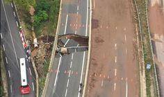 L'autoroute A75 effondrée au sud de Lodève (Hérault) après des intempéries, 13 septembre 2015
