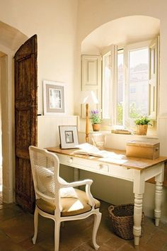 Cottage Home Office with Pottery barn whitney project table, Casement, Standard height, specialty door, Wainscotting, Paint 1