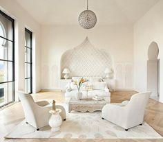 Gordon Stein Design - bedrooms - monochromatic, monochromatic bedroom, moroccan style bedroom, moorish archway, moorish niche, moroccan shap...