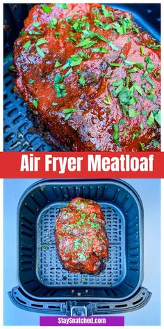 Easy Air Fryer Meatloaf Recipe is a quick dish using 2 pounds of ground beef or turkey. The meatloaf is topped with a sweet and savory glaze. Drizzle with gravy if you wish! recipe with gravy Easy Air Fryer Meatloaf Recipe + {VIDEO} Air Fryer Recipes Snacks, Air Fryer Recipes Low Carb, Air Fryer Recipes Breakfast, Air Fryer Dinner Recipes, Meatloaf Recipe Video, Meat Loaf Recipe Easy, Meatloaf Recipes, Meatloaf Recipe With Milk, Quick Easy Meatloaf Recipe