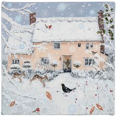 Lucy Grossmith (heart-to-art) - Rose Cottage in winter Art And Illustration, Illustrations, Snow Scenes, Winter Scenes, Images Vintage, Photo Images, Winter Art, Winter Snow, Jolie Photo