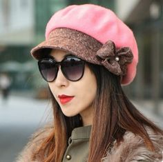 Fashion flower beret hat for winter warm face-lift wool hat