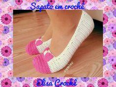 SAPATINHO EM CROCHÊ ADULTO 33/34 # Elisa Crochê