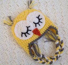 Crochet Owl Hat Baby Yellow Owl Beanie by Chinguliscreations, $16.00