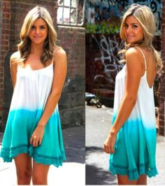 ombre! White &&* aqua blue, they go amazing together i love this dress. Great for the summer.