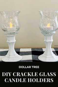 Dollar Tree Candle Holders, Dollar Tree Candles, Dollar Tree Decor, Glass Candle Holders, Diy Candles, Crackle Glass, Country Crafts, Mason Jar Wine Glass, The Ranch