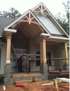 Right Side Front Porch With Gable Bracket 43 By Pro Wood Market Primitive Homes, Front Porch Posts, Small Front Porches, Front Porch Design, Gable Brackets, Porch Brackets, Gable Roof, Porch Gable, Gable Trim