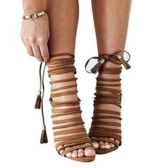 c792785f9200 Brown Sandals Open Toe Lace-Up Cross Strap Shoes