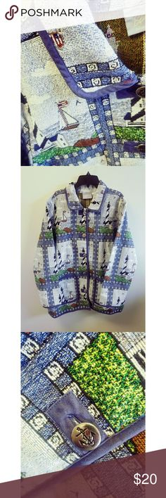 Vintage Blair Tapestry Jacket with Nautical Design Vintage Blair Tapestry Jacket with Nautical Design. Lighthouse and sailboat designs. 2 Large pockets in front. Large, silver buttons with anchor designs. Slits on both sides at bottom. 65% cotton and 35% polyester. Very unique jacket in excellent condition! Blair Jackets & Coats