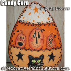 This is a Halloween project by Betty Bowers, Candy Corn E-Packet - Betty Bowers. Halloween Wood Crafts, Halloween Rocks, Halloween Painting, Holidays Halloween, Halloween Themes, Fall Crafts, Halloween Crafts, Halloween Decorations, Rustic Halloween