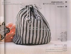 Black and white pouch bag with diagram, click on diagram image to enlarge.