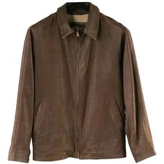 Preowned Loro Piana 38 Men's Classic Leather Brown Jacket / Zip Off... ($1,060) ❤ liked on Polyvore featuring men's fashion, men's clothing, men's outerwear, men's jackets, brown, jackets, mens brown jacket, mens leather sleeve jacket, mens brown leather jacket and mens jackets
