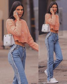 Kendall jenner style - Jeans and wonderful sweater Inspiring Ladies Kendall Jenner Style, Le Style Du Jenner, Kendall Jenner Modeling, Kendall Jenner Outfits, Mode Outfits, Fashion Outfits, Denim Fashion, Fashion Fashion, Magazine Mode