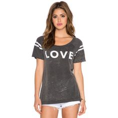 Chaser Love Tee Tops ($61) ❤ liked on Polyvore featuring tops, t-shirts, graphic tees, chaser t-shirts, graphic print t shirts, cut out t shirts, graphic tops and graphic design t shirts