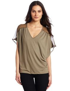 Only Hearts Women's So Fine with Silk Chiffon V-Neck Drop Shoulder Tee for $128.00
