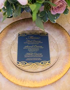 Laser cut gold foil wedding menu by Southern Fried Paper / Navy and Gold Wedding Place Settings, Wedding Menu Cards, Luxury Wedding Invitations, Elegant Invitations, Wedding Stationary, Custom Invitations, Invitation Ideas, Invitation Templates, Wedding Cake Fillings