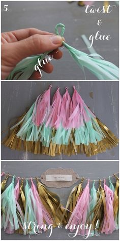 You can make your own garland like this out of paper shred, twine and a hot glue gun. This is really pretty and chic!