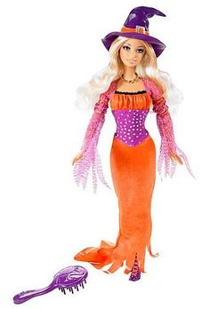Barbie is ready to go trick-or-treating and to that big Halloween party! She's beautifully bewitching in her pointy hat stylish witch's gown in glittery orange with purple sleeves flared skirt lace. Mattel Barbie, Barbie And Ken, Barbie Halloween, Halloween Treats, Halloween Party, Happy Halloween, Vintage Barbie Dolls, Barbie Collector, New Dolls