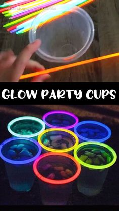 Glow in the Dark Party Cups- summer fun idea for parties and bbqs! 4th of July glowstick idea. Etsy find affiliate link.