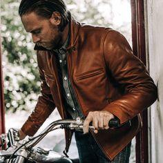 Taylor Stitch Moto Jacket in Whiskey Steerhide Brown Leather Jacket Men, Leather Men, Mens Brown Leather Jacket, Fashion For Men Over 50, Taylor Stitch, Mexican Men, Mexican Outfit, Moto Jacket, Men Sweater
