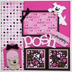 12x12 premade scrapbook pages Posh Puppy by gautierdesigns on Etsy, $30.00