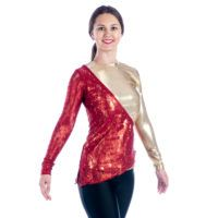 Asymmetrical Lace Long Sleeved Dance Dance Team Costumes T1003