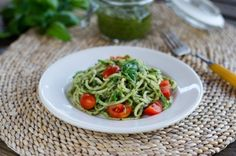 Quick and easy zucchini pasta pesto that's gluten-free, dairy-free and a perfect side dish or light lunch.