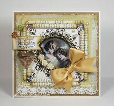 Stempelglede :: Design Team Blog: Handmade card. Rubber stamps used for this project: Single Stamp 021 Grunge Ornamental Circle, Just a Note and Vintage Christmas stamp sets. 2014 ©  Yvonne van de Grijp