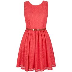Yumi Lace Day Dress ($79) ❤ liked on Polyvore featuring dresses, pink, women, waist slimming belt, red sleeveless dress, pink skater dress, skater dress and red waist belt