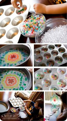 melted bead sun catchers – If you shape the muffing tins discs into a bow.... you could string them together to make a rain chain?