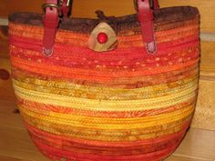 Fabric Purse  Adjustable Red Leather Straps  by KreativityAbounds, $165.00